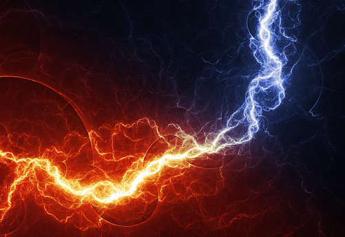 Fire And Ice Abstract Lightning Background Clash Of The ...