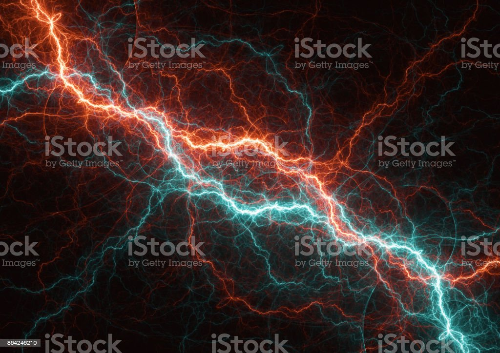 Fire and ice electrical lightning, plasma element royalty-free stock photo