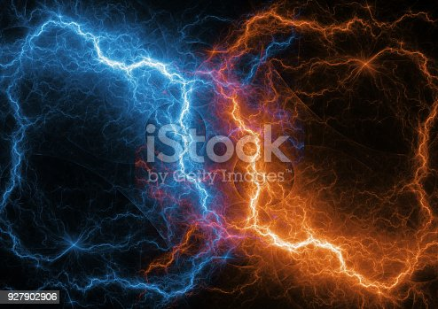 istock Fire and ice fractal lightning, plasma and energy lightning 927902906
