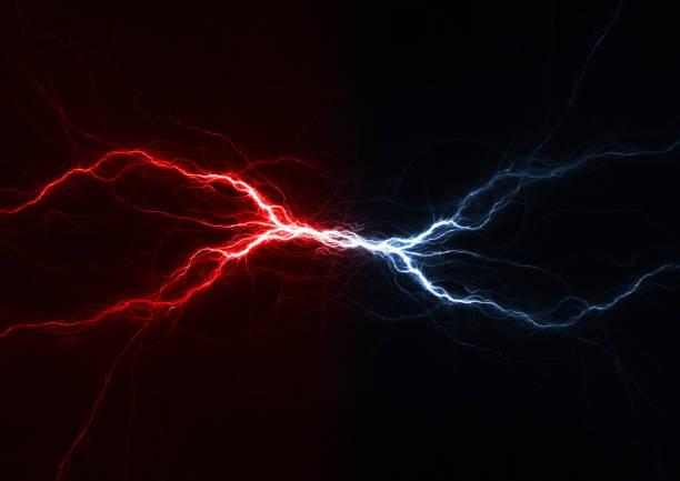 fire and ice plasma lightning swirl, abstract electrical background - lightning zdjęcia i obrazy z banku zdjęć