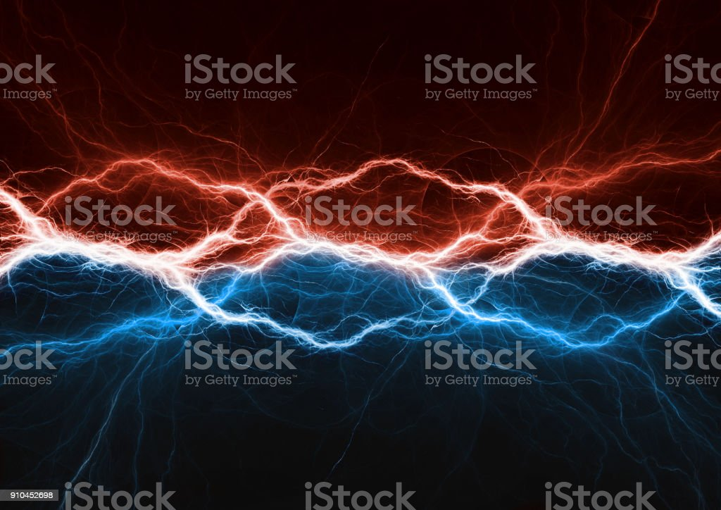 Fire and ice plasma power, electrical lightng bolt stock photo