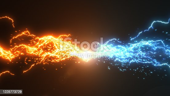 istock Fire and Ice. Thunder and electric style with spark concept design on black background 1225773729