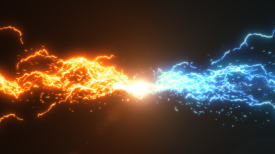 Fire and Ice. Thunder and electric style with spark concept design on black background