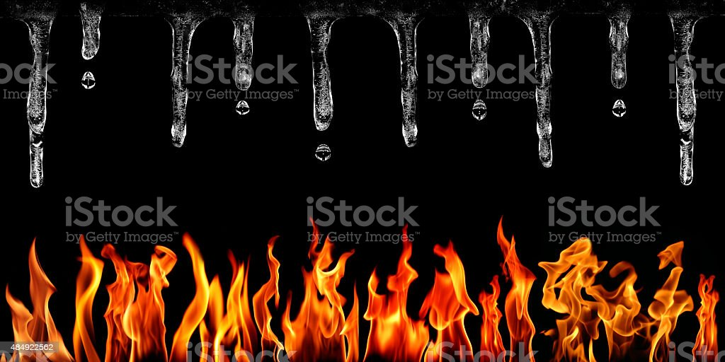 Fire and Icicles on Black Background stock photo