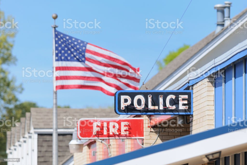 Fire and police sign with american flag stock photo