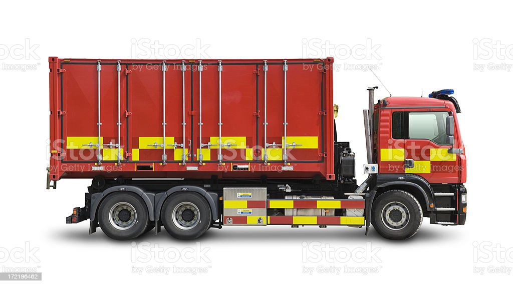 Fire and rescue truck with clipping path royalty-free stock photo