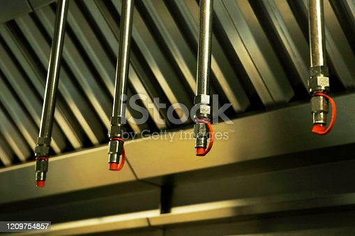 fire and safety equipment, emergency water dispenser sprinkler under the roof hood usually fixed in kitchen, factories and warehouses to prevent the fire accident