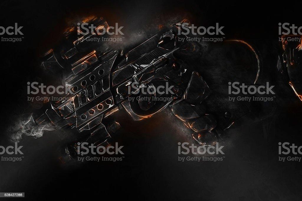 fire and smoke gun stock photo