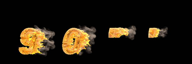Fire and smoke numbers 9 and 0, apostrophe and quotations marks isolated on black, racing speed concept font - 3D illustration of symbols Fast speed racing creative alphabet, burning fire and smoke numbers 9 and 0, apostrophe and quotations marks isolated on black - 3D illustration of symbols apostrophe stock pictures, royalty-free photos & images