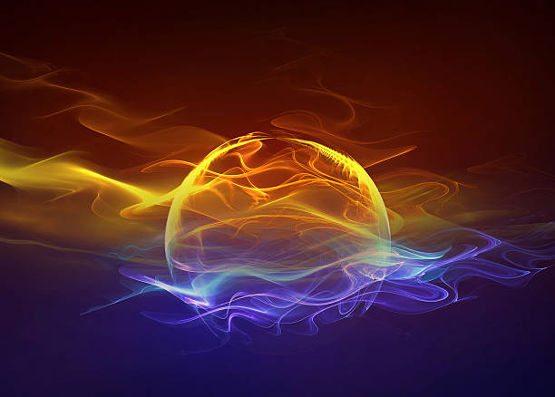 fire and water, abstract concept background - yin yang symbol stock photos and pictures