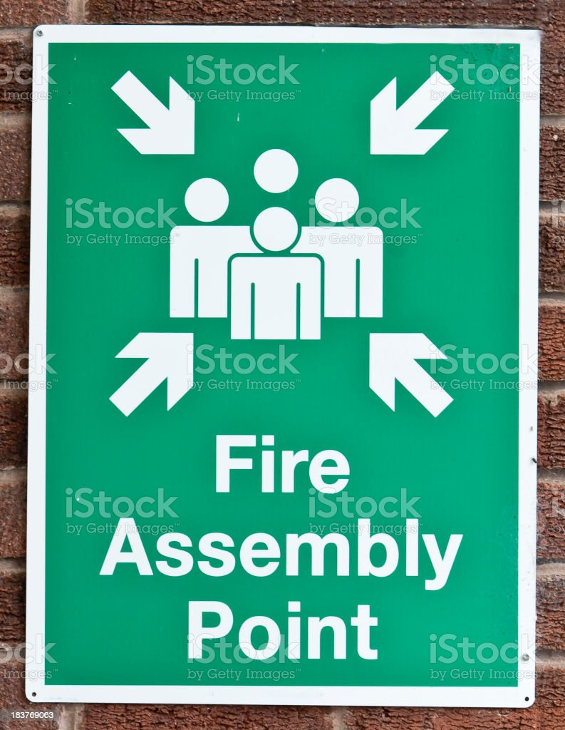fire assembly point stock photo
