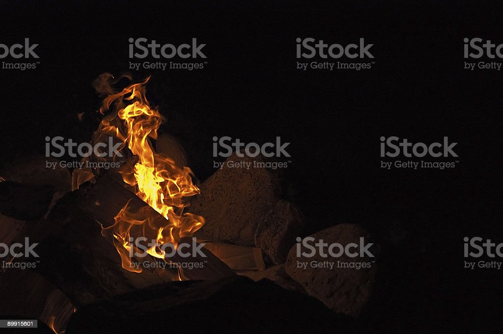 Fire at a beach royalty-free stock photo