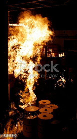 istock Fire at an industrial plant 172646340