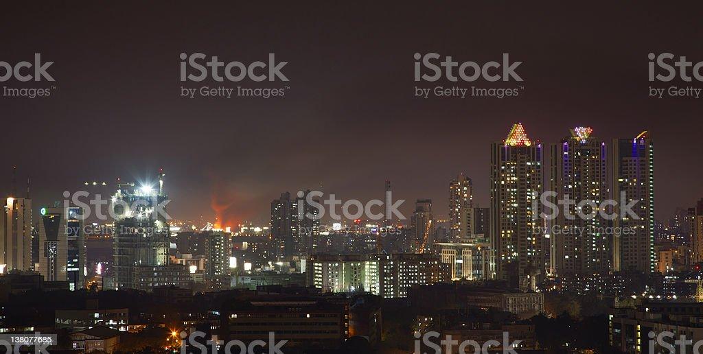 fire at Bandra station Mumbai India stock photo