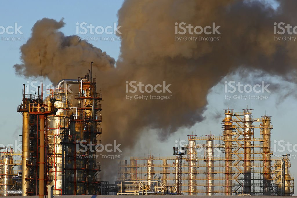 Fire at oil refining plant royalty-free stock photo