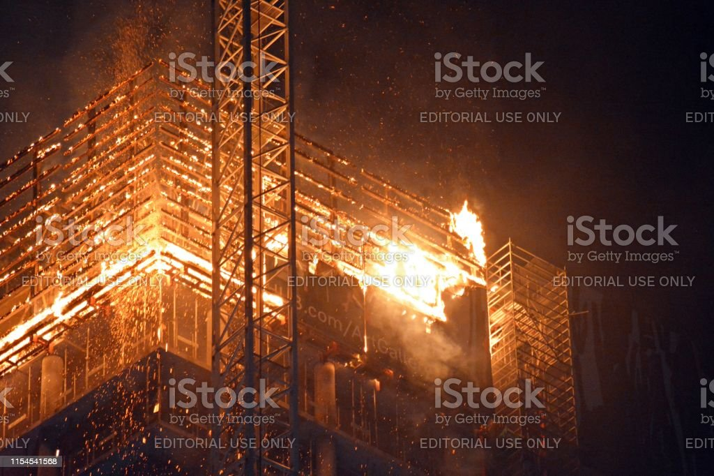Warsaw, Poland. 7 June 2019. A fire at the Warsaw Hub construction...