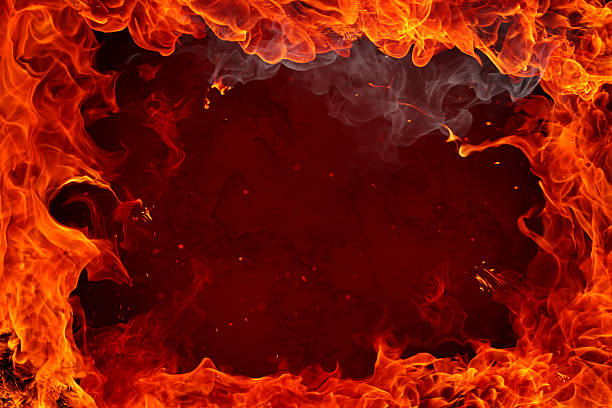 Fire background with flames around edges stock photo