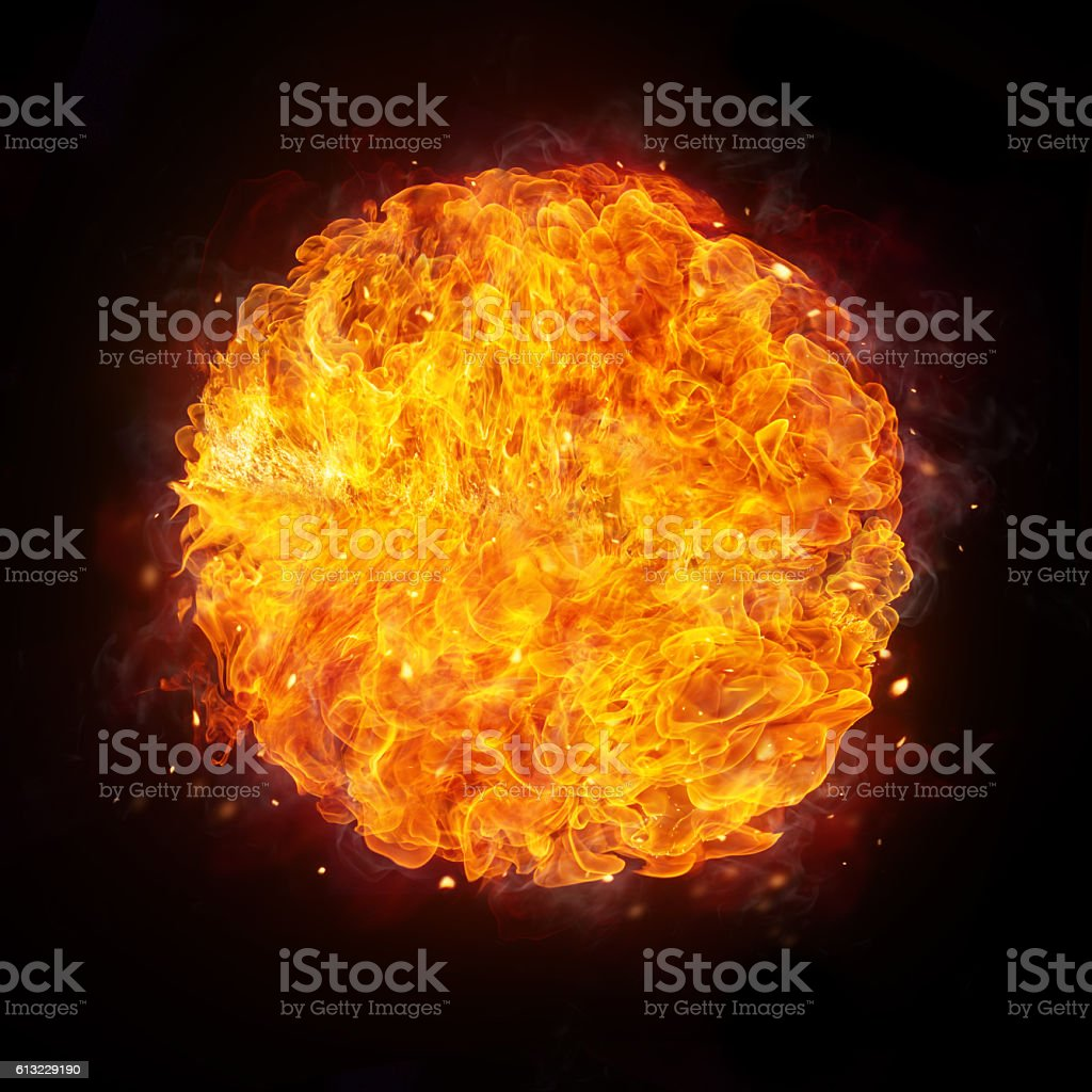 Fire ball isolated on black background stock photo