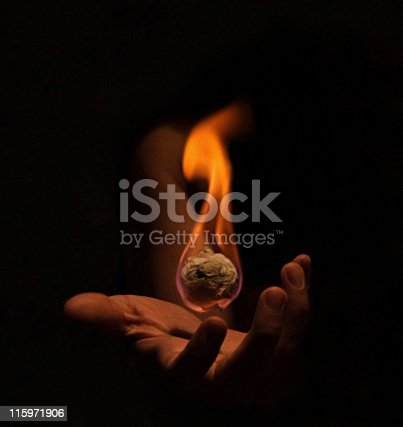a hand holding a ball of fire