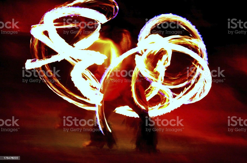 Fire Baton Twirling At Hawaiian Luau stock photo