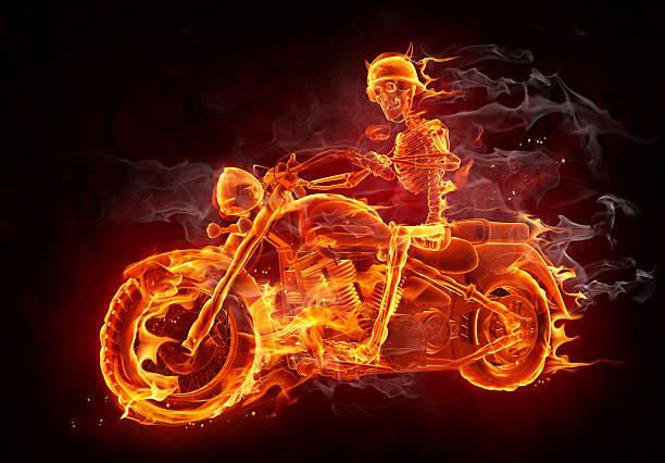 Fire biker stock photo