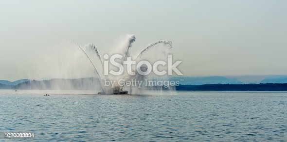 Water blasts out of this fire boat near Seattle, Washington.