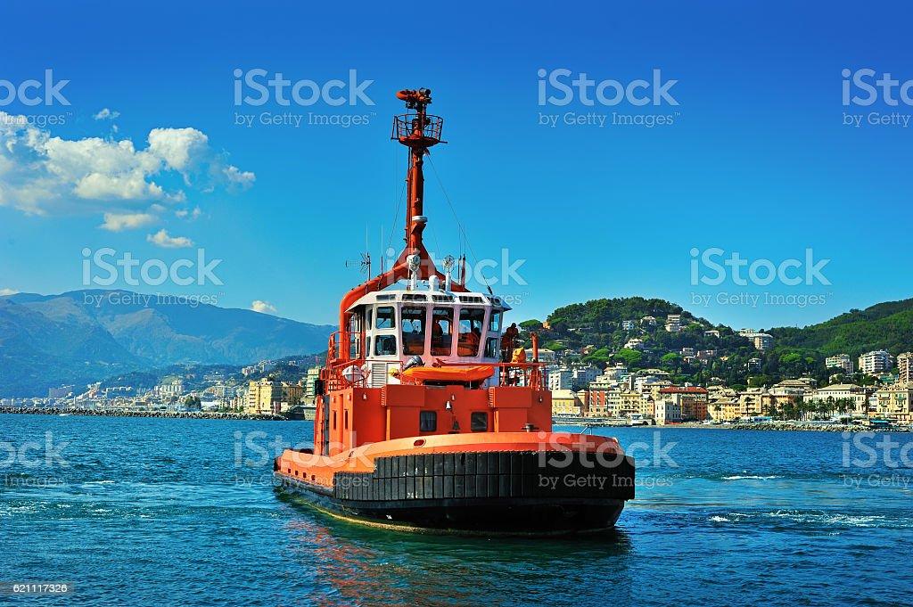 Fire boat in port Genova, Pegli , Italy stock photo