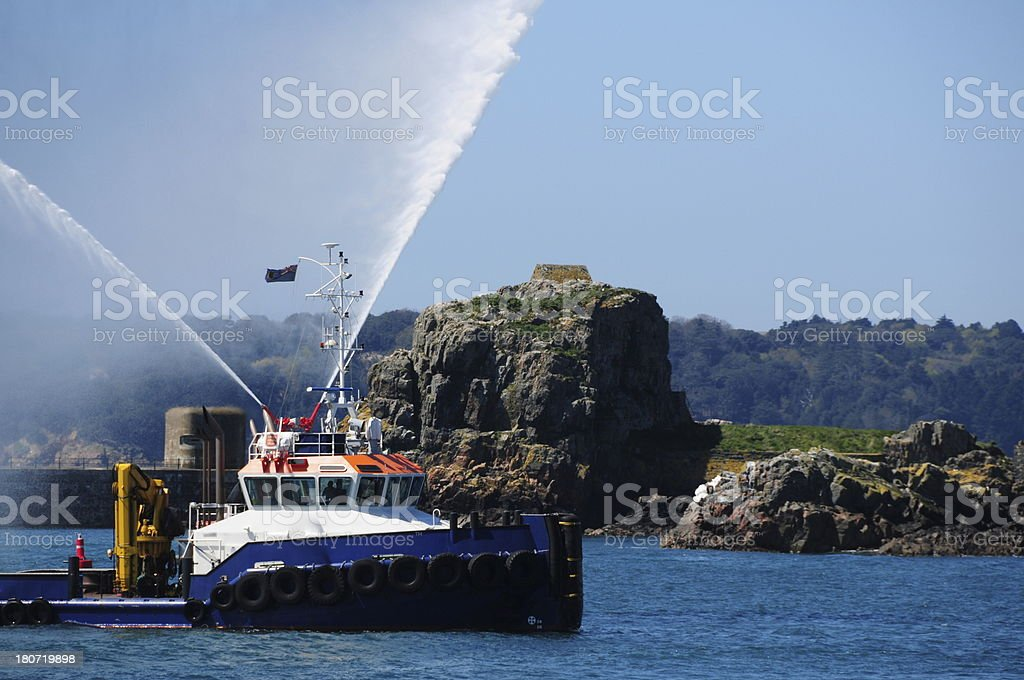 Fire boat, Jersey. stock photo