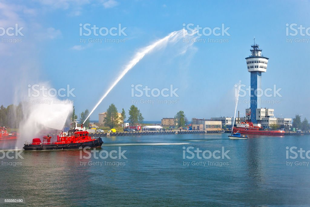Fire boat show stock photo
