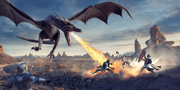 Fantasy image of a large dragon, flying low to the ground with tuned head and mouth open, breathing fire into a group of three medieval knights in armour. The knights are carrying weapons and a shield, and are being blown backwards by the blast. Another knight looks from the foreground.