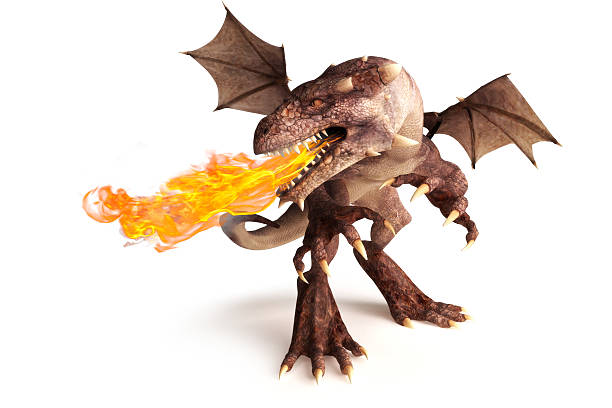 Fire breathing dragon on a white background. stock photo