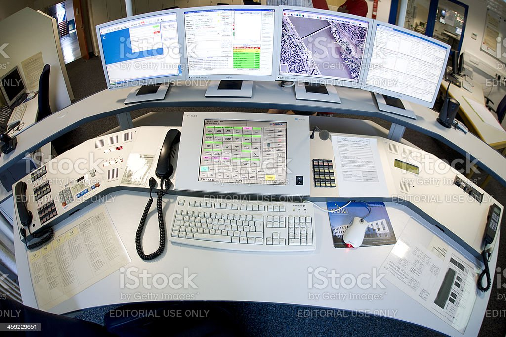 Fire brigade control center - Feuerwehrleitstelle stock photo