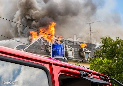 istock Fire brigade deployment House fire 1086904074