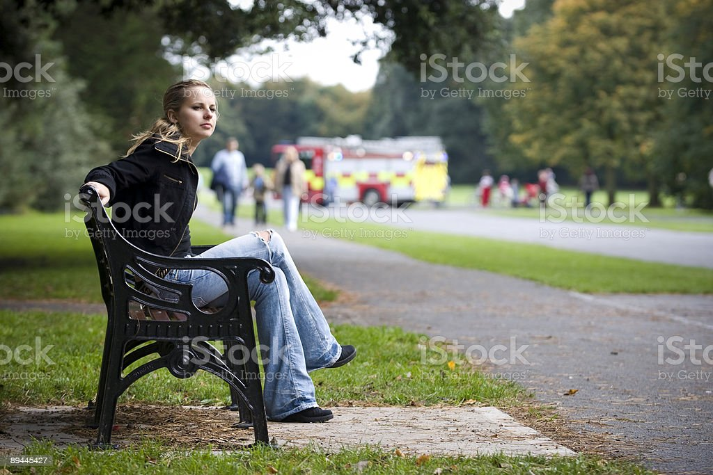 Fire brigade in a park royalty-free stock photo