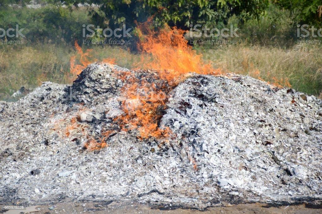 Feuer brennt Asche im Garten der Natur - Lizenzfrei Asche Stock-Foto