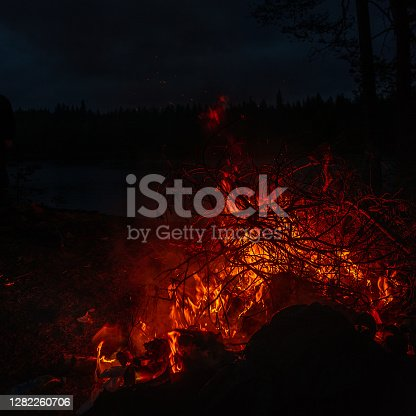 Fire burning at night.