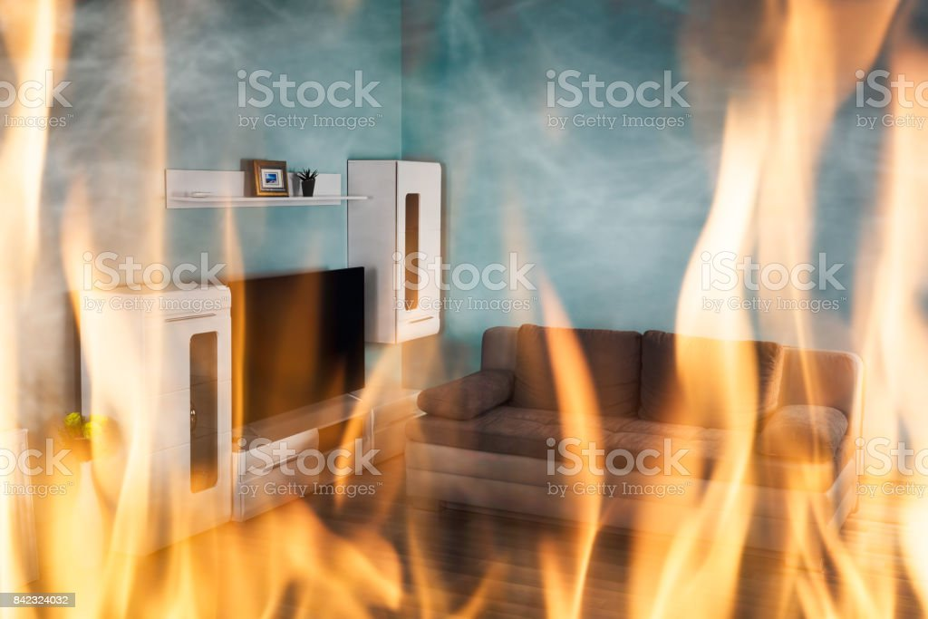 Fire Burning Inside The House stock photo