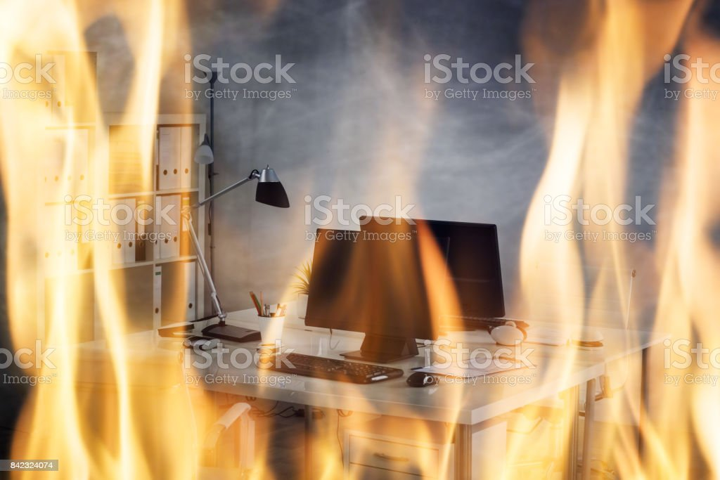 Fire Burning Inside The Office stock photo
