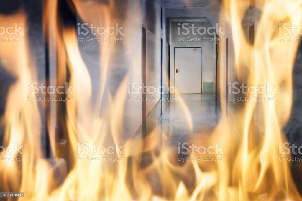 Fire Burning On The Corridor Of The Building stock photo