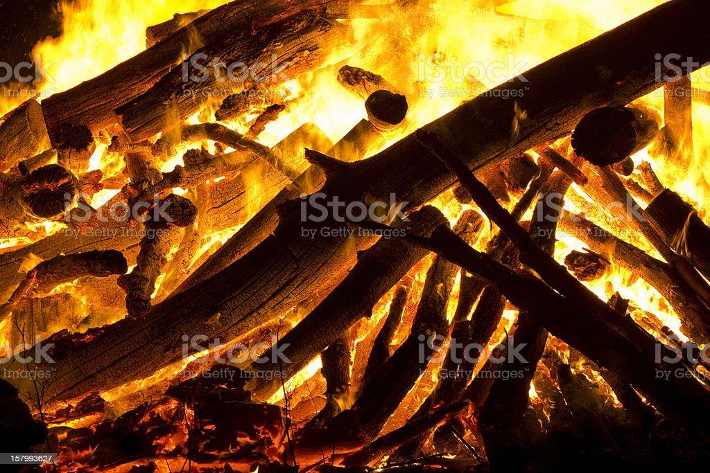 Fire burning wood royalty-free stock photo