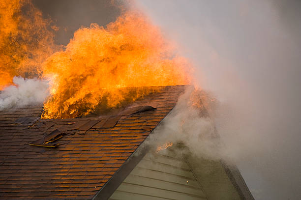 Fire Burns Home to the Ground stock photo