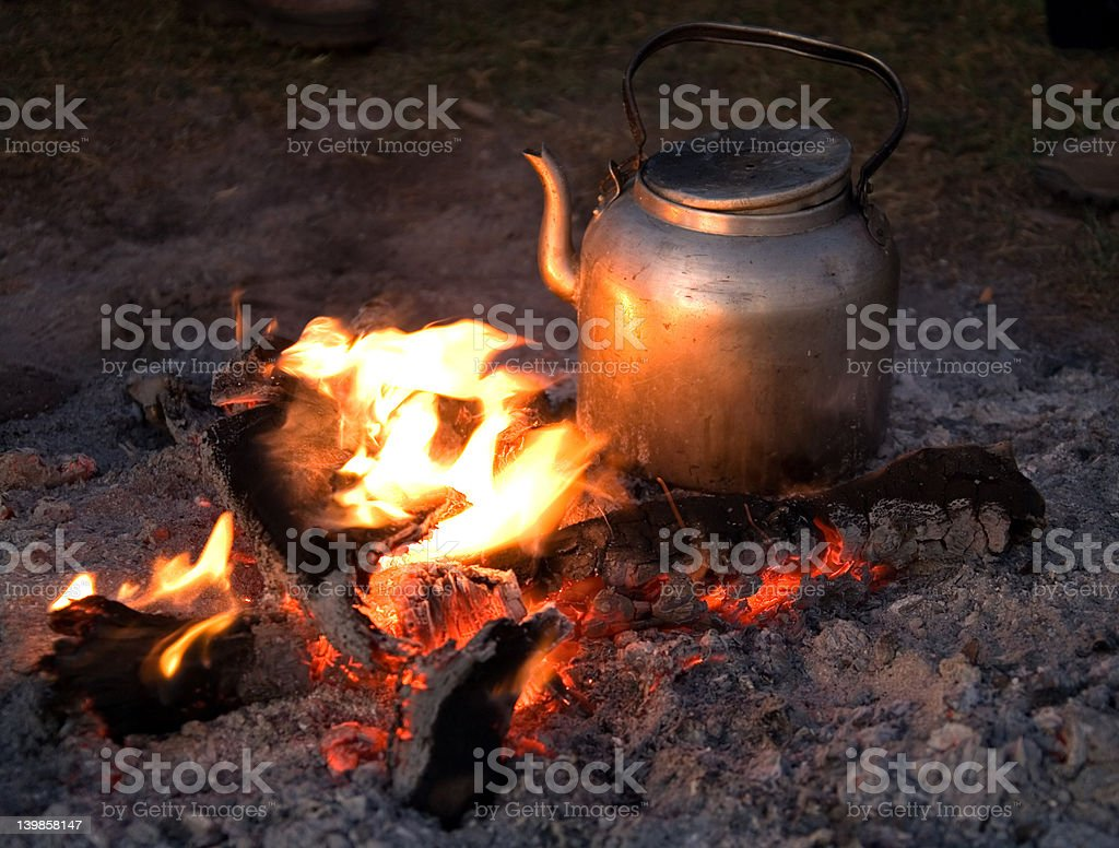fire camp ngorongoro royalty-free stock photo