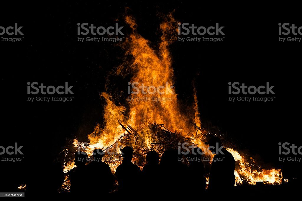 Feuer, Lagerfeuer, Sonnwendfeuer stock photo