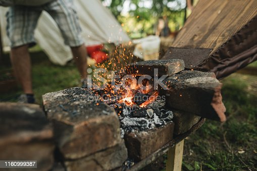 Fireplace on a medieval festival