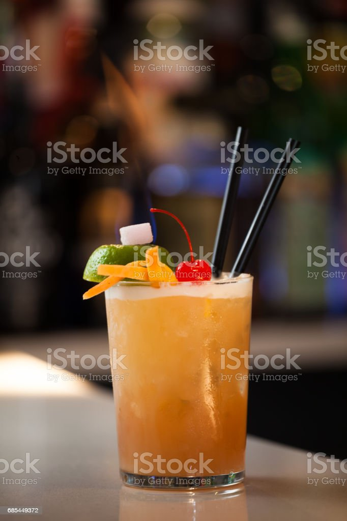 Fire Cocktail at a Bar foto de stock royalty-free