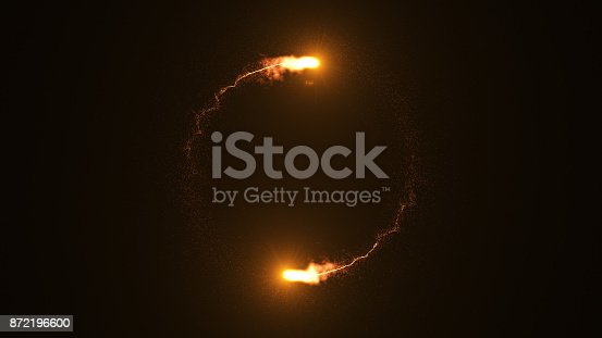 istock Fire comet flying. Shining lights in motion with small particles. 872196600