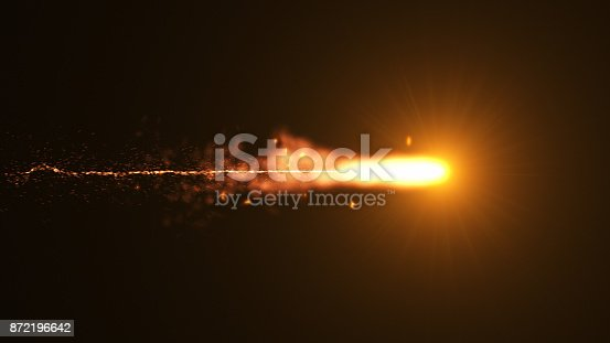 istock Fire comet flying. Shining lights in motion with small particles. 872196642