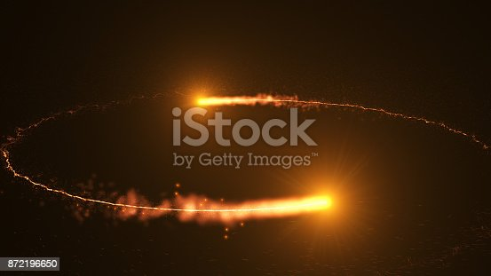 istock Fire comet flying. Shining lights in motion with small particles. 872196650
