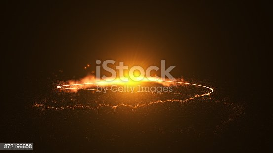 istock Fire comet flying. Shining lights in motion with small particles. 872196658