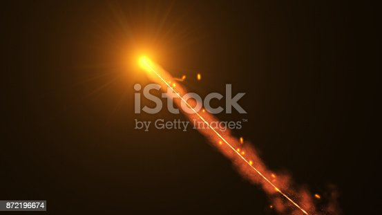 istock Fire comet flying. Shining lights in motion with small particles. 872196674